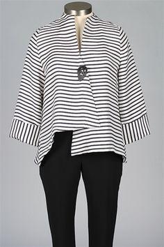 I.C. Collection - Stripe Jacket - Navy