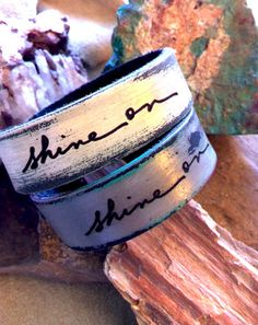 SHINE ON  Artists Script Petite Cuff by LeatherCoutureLV on Etsy, $35.00
