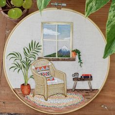Bullion Embroidery, Flower Embroidery Designs, Hand Embroidery Patterns, Diy Embroidery, Cross Stitch Embroidery, Mountain View, Crafty, Instagram, Pen And Wash