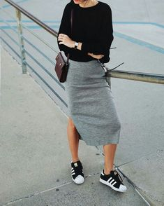 long pencil skirt and tennis shoes