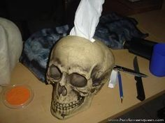 Skull Tissue Holder (will go perfect with my skull ashtrays!)  take a foam skull and cut an opening in the top for tissues to be dispensed.  Cut another larger hole in the bottom, so to take the tissues from a whole box and insert them though the bottom.