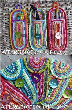 The best crochet hook case patterns to make crochet hook holder case pattern and video tutorial free Slip Stitch Crochet, Crochet Hook Case, Crochet Hook Sizes, Thread Crochet, Crochet Stitches, Crochet Hooks, Cute Crochet, Crochet Crafts, Crochet Projects