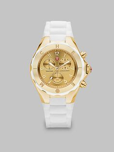 Michele Watches - Silicone Goldtone Stainless Steel Chronograph Watch/White - From the Tahitian Jelly Bean collection