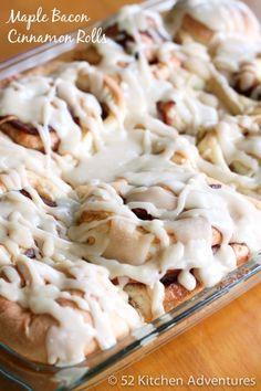 Maple Bacon Cinnamon Rolls | 52 Kitchen Adventures
