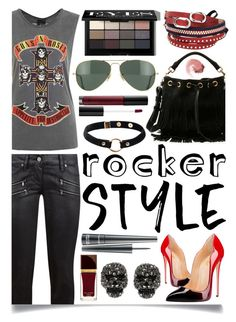 """""""Rocker Chic"""" by ittie-kittie ❤ liked on Polyvore featuring Paige Denim, Topshop, Yves Saint Laurent, Ray-Ban, Nika, Betsey Johnson, TOKYObay, Bobbi Brown Cosmetics, Anastasia Beverly Hills and MAC Cosmetics"""