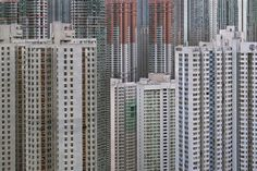 """Photographer Michael Wolf, double winner of the World Press Photo provides us with this series """"Architecture of Density"""" where unretouched pictures of Hong Kong, its 7 million inhabitants and its concrete towers show an impressive and oppressive world . Hong Kong Architecture, Geometry Architecture, Architecture Design, China Architecture, Futuristic Architecture, Amazing Architecture, Contemporary Architecture, Michael Wolf, World Press Photo"""