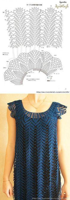 Fabulous Crochet a Little Black Crochet Dress Ideas. Georgeous Crochet a Little Black Crochet Dress Ideas. Gilet Crochet, Crochet Motifs, Crochet Blouse, Crochet Stitches, Crochet Lace, Knitting Patterns, Crochet Patterns, Mode Crochet, Crochet Summer Tops