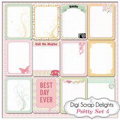 Jeu de cartes de poche joli Journal 4, projet vie inspiré PDF imprimable de 3 x 4 & PNG, digiscrap, téléchargement immédiat