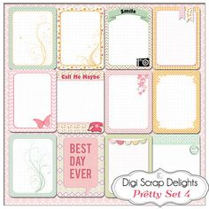 Pretty Pocket Journal Cards Set 4, Project Life Inspired 3x4 Printable PDF & PNG, Digital Scrapbooking, Instant Download $3.00