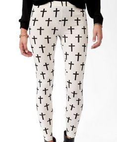 Cross Print Leggings