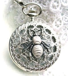 Bumble bee pocket watch,  men's bumble bee pocket watch in silver