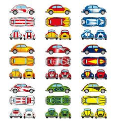 Vw beetle cars vector