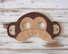 Monkey Mask - Animal - Felt - Kids Mask - Costume - Dress Up - Halloween - Pretend Play Más Monkey Mask, Pig Mask, Bear Mask, Monkey Monkey, Animal Masks For Kids, Animals For Kids, Mask For Kids, Monkey Costumes, Diy Monkey Costume