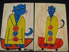 """Jamestown Elementary Art Blog: Kindergarten """"Pete the Cat"""" & primary colors. Draw Pete using shapes and primary colors. Based on book, Pete the Cat and his four groovy buttons."""