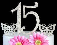 Sweet 15 Quinceanera Numbers Silver Bling Cake topper in Rhinestones   butterfly Cake picks * Remarkable product available  : Baking tools