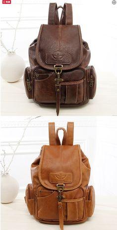 Leisure Single Hook Brown British Style Retro Leather Women's Backpacks #bag #Backpack #school