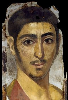 A Romano-Egyptian mummy portrait from Tanis. It is an encaustic portrait on wood. 3rd Century AD. The use of a painted portrait of the deceased to replace the impersonal mummy-mask of Egyptian funerary tradition was an introduction of the Roman period AN.1896-1908.E.3755 #Tashmolean