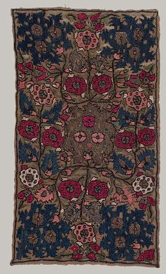 Africa | Embroidered panel from Algeria | 18th century | Linen, silk, silver, and gold