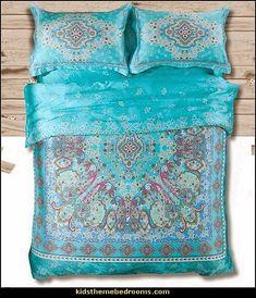 ☮ American Hippie Bohemian Boho Textile ~ Beautiful aqua bedding