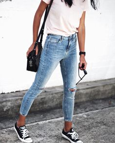 Light wash denim with a pale tee is a good way to go!