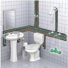 """Sanitary Installation – Height of """"Distribution Pipes"""" - Engineering Feed Bathroom Design Small, Bathroom Layout, Bathroom Interior, Bathroom Modern, Plumbing Drains, Bathroom Plumbing, Bathroom Floor Plans, Bathroom Flooring, Basement Bathroom"""