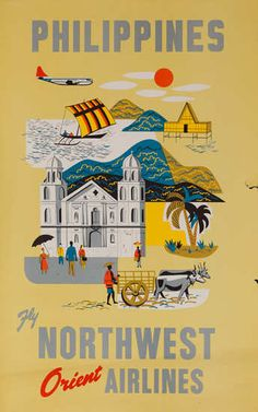 size: Giclee Print: Philippines - Fly Northwest Orient Airlines by Pacifica Island Art : This exceptional art print was made using a sophisticated giclée printing process, which deliver pure, rich color and remarkable detail. Les Philippines, Philippines Travel, Philippines Culture, Vigan, Retro Airline, Vintage Airline, Philippines Destinations, Images Wallpaper, Northwest Airlines