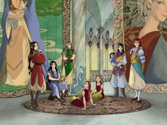 waiting hall by greenapplefreak on DeviantArt In the image: the sons of Feanor came to visit his grandfather Finwë, but while they wait, Maglor took out the harp.  From left to right: Carnistir, Makalaurë, Tyelkormo, Umbarto, Ambarussa, Atarinkë (plus baby Telperinquar!) and Nelyafinwë; they are all looking to the side because Finwë just entered the room.