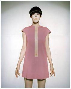 Peggy Moffitt modelling a pink Rudy Gernreich dress (1968)