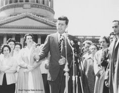 1960 Presidential Campaign in West Virginia Photograph, John F. Kennedy delivering a campaign speech on the steps in front of the State Capitol, April 11, 1960, Charleston. Photograph by Frank Wilkin, Charleston Gazette. Frank Wilkin Collection  ♡❀✿❀♡✿♡❁♡ http://www.jfklibrary.org/JFK/JFK-in-History/Campaign-of-1960.aspx