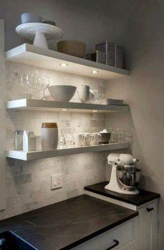 Baking cornerrrrr Floating Shelves In Kitchen, Floating Shelves With Lights, Open Shelving In Kitchen, Ikea Kitchen Shelves, Stainless Steel Kitchen Shelves, Kitchen Shelf Decor, Ikea Lack Shelves, Lack Shelf, Open Shelves