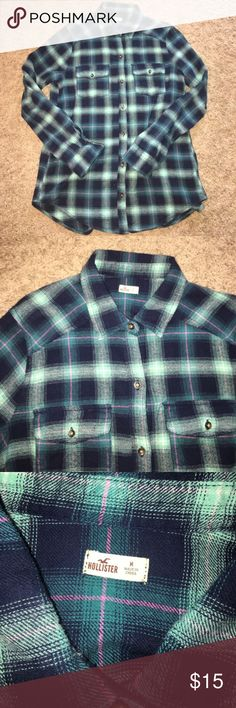 Girls Medium Hollister Flannel New Hollister flannel. Size medium. Awesome to wear with jeans or shorts. Blue colors with small pink stripe. Hollister Tops Button Down Shirts