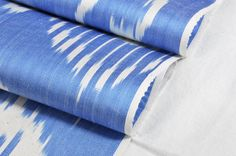 45.50 Blue and white Ikat fabric 3 yards- Upholstery Silk/Cotton Hand woven.