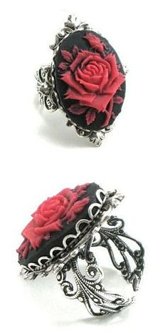 Red Rose Cameo Ring ♥ cool for halloween or anytime Cameo Jewelry, Cameo Ring, Gothic Jewelry, Jewelry Box, Jewelery, Vintage Jewelry, Jewelry Accessories, Witch Jewelry, Rose Jewelry