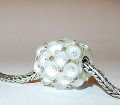 Luccicare Lampwork Bead - Snow White - FOCAL - Lined with Sterling Silver by Luccicare on Etsy