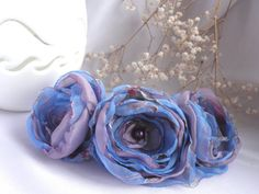 Headband with Fabric Flowers / spring fashion/ blue by Marywool, $18.00