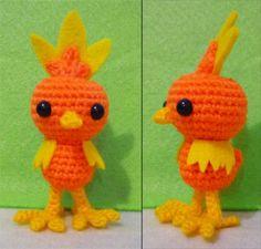 Crochet Torchic  from Pokemon Amigurumi- Finish Doll. $35.90, via Etsy.