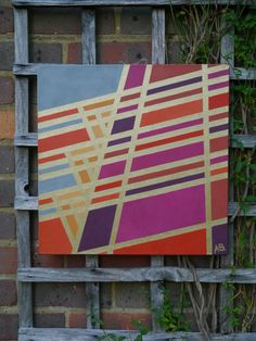 Abstract geometric painting in bright acrylic and by AbiBenford, $230.00