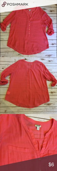 """Old Navy Orange Roll up sleeve Top Worn a few times. In very good condition. No flaws. Made of 100% cotton. Size XL from out to pit 24"""" length 31"""". PRICE FIRM - BUNDLE AND SAVE! Old Navy Tops Tees - Long Sleeve"""