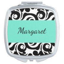 """Stylish Designs""  TEMPLATE-Aqua & Black Monogram Vanity Mirror"