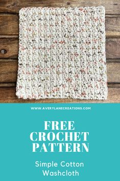 This free simple cotton washcloth/dishcloth crochet pattern is a quick and easy crochet project. This is a great beginner friendly crochet pattern. Cotton Crochet Patterns, Crochet Potholder Patterns, Dishcloth Crochet, Knit Washcloth Patterns, Wash Cloth Crochet Pattern, Beginner Crochet Patterns, Crochet Scrubbies, Crochet Towel, Blanket Crochet