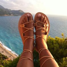 A pair of genuine Greek leather sandals ♥ Summer sandals made in Greece ♥ You can wear them all day, they are very comfortable ♥ Perfect for everyday adventures, beach, bridal ! If you take half size, go UP to the nearest whole size. Leather Gladiator Sandals, Brown Leather Sandals, Lace Up Sandals, Flip Flop Sandals, Leather And Lace, Summer Sandals, Women Sandals, Mens Flip Flops, How To Stretch Shoes