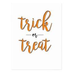 trick or treat halloween orange black simple postcard - holidays diy custom design cyo holiday family