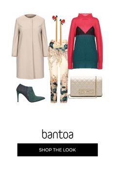 Pantalone base beige con fantasia verde petrolio come le scarpe. la maglia lupetto richiama tutti i colori dalla fantasia. cappotto a girocollo con bottoni nascosti e borsa sono della stessa gradazione mentre gli orecchini lunghi richiamano la fantasia del pantalone