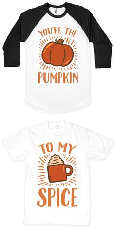 This cute fall inspired BFF design is great for the couple, or friends who love pumpkin spice lattes and autumn. Keep your friends close and your pumpkin spice lattes closer with these pumpkin and spice shirt designs. Grab your uggs, a giant sweater, and your pumpkin spice because fall is here and we're ready to cuddle up.