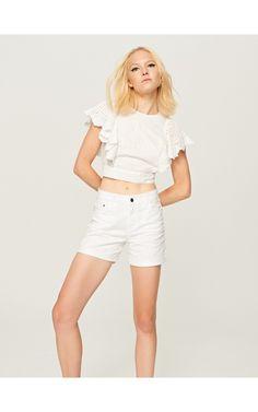 Białe jeansowe szorty, Nowości, biaŁy, RESERVED