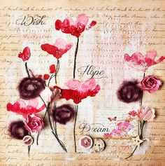 Wish Hope Dream in the Poppy Field -Pre-made dimensional scrapbook page