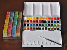 Murrena's Blog: SENNELIER french artists watercolor 48 half-pans set in a metal box