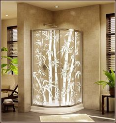 New BIG BAMBOO Etched Glass Clear Decorative Static Cling Window & Door Film #WFW