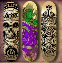 From graffiti-inspired decks to photo prints and fine art by notorious artists like Damien Hirst, these 15 artistic skateboard designs are gallery-worthy. Skateboard Deck Art, Skateboard Design, Skates, Old School Skateboards, Cool Skateboards, Pop Art, Longboard Design, Skate And Destroy, Skate Art