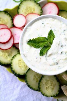 Tzatziki: 1 cucumber, 1 lemon, 2 cups plain Greek yogurt, 2 Tbs. dill, 1 tsp garlic, cayenne, salt & pepper
